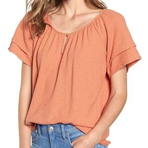 Madewell Texture & Thread Tiered Sleeve Top Medium